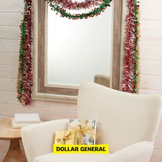 Top off your home with garland to add an extra festive feel. Find these products and more at your local Dollar General.