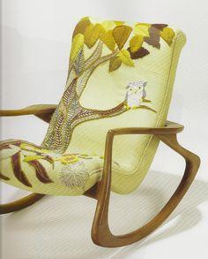 Erica Wilson's Embroidered Owl on husband Vladimir Kagan's Modern Rocking Chair