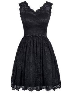 V Neck Black Lace Homecoming Dresses,Short Black Dressses, Simple Short Prom Dresses,Mini Dresses