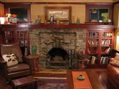 Dreams of having a craftsman bungalow with functional fireplace Craftsman Living Rooms, Living Room Built Ins, Craftsman Fireplace, Craftsman Interior, Craftsman Style Homes, Craftsman Bungalows, My Living Room, Cabin Fireplace, Tall Fireplace