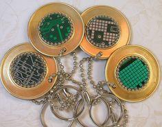 CIRCUIT BOARD Key Chain Geek Techie Recycled Vintage Brass  pkg1. $7,50, via Etsy.