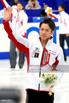 Sochi Olympic Japanese figure skater Daisuke Takahashi waves to fans after the 82nd All Japan Figure Skating Championships at Saitama Super Arena on...
