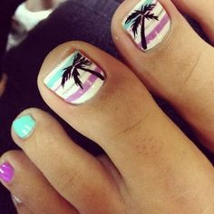Beach Toe Nail Design with Palm Tree.