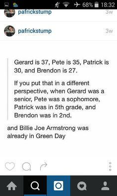 Because that's how old Billie Joe Armstrong is.  Freaking older than Gerard Way, Brendon Urie, Pete Wentz and Patrick Stump.