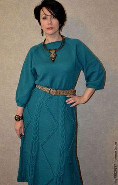 """Вязаное платье """"Удачный день"""" - зелёный,абстрактный,длинное платье,вязаное платье"""