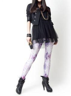 Purple Diamond Handrinted Leggings by SWonderland on Etsy, $48.00