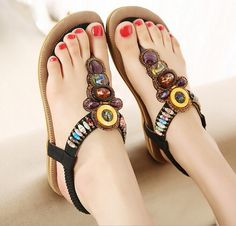 Rhinestones Slip-on Ankle Wrap Flat Sandals Beaded Shoes 388ef37f2197