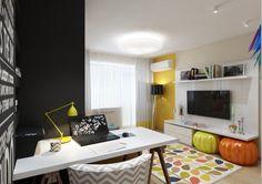 Konyha és nappali elválasztása eltolható üvegfallal egy 29m2-es kis lakásban - üde, pozitív hangulatú dekoráció
