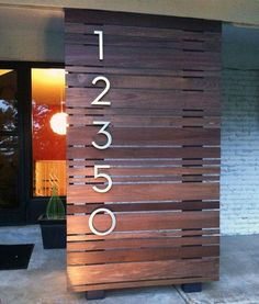 Modern Exterior by Modern House Numbers Mid Century Landscaping, Yard Landscaping, Landscaping Ideas, Pergola Ideas, Mid Century Exterior, Mid Century Lighting, Building Exterior, House Building, Building Ideas