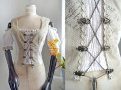 Off shoulder top Rustic romantic lace Top Carmen white rustic bustier blouse Fantasy Folk steampunk Historic Medieval style Oktoberfest by SuitcaseInBerlin