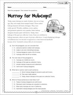 Hurray for Hubcaps!: Close Reading Passage