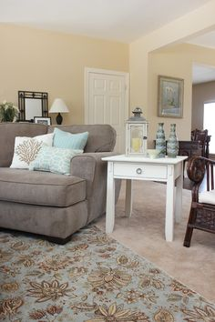 Almond Cream by Porter paint color. ASCP old white end table