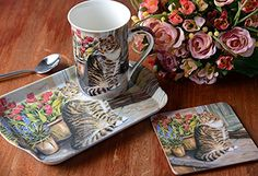 Creative Tops Cottage Cat Mug/ Coaster and Tray Gift Set, Multi-Colour Tea For One Gift Set from the charming Cottage Cat Collection by Creative Tops. This set consists of a porcelain mug melamine tray and a cork back coaster. Presented (Barcode EAN = 5050993024410) http://www.comparestoreprices.co.uk/december-2016-6/creative-tops-cottage-cat-mug-coaster-and-tray-gift-set-multi-colour.asp