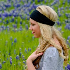 47e2c263fb02 Black Headband Fitness Solid Black Headwrap Jersey Knit Head Wrap Workout  Headscarf Sports Hair Band Exercise Headband Black ( 1101) S M L X