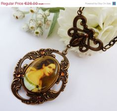 ON SALE Nostalgic necklace in bronze with lady by Schmucktruhe, €18.20