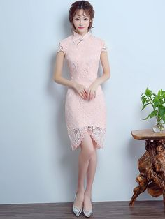 Mandarin Collar Qipao / Cheongsam Dress with Asymmetric Hem