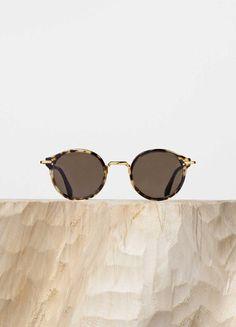 70b3d390b0 Joe Sunglasses in Havana Green Acetate and Metal with Brown Lenses - Céline
