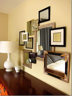 Decor mirror collage wall dazzling design ideas hand mason and picture gold Mirror Gallery Wall, Mirror Collage, Wall Collage, Gallery Walls, Frame Gallery, Decorating On A Budget, Interior Decorating, Interior Ideas, Interior Design