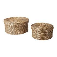 VIKTIGT basket with lid, set of 2, black, natural