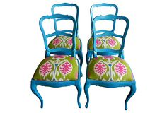 Turquoise Chairs w/ Ikat Seats