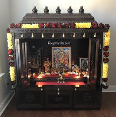 Here are the pictures shared by our clients after they decorated their pooja mandirs. Pooja Room Door Design, Home Room Design, House Design, Temple Design For Home, Home Temple, Indian Living Rooms, Home Living Room, Silver Pooja Items, Mandir Design