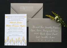 Convites para casamento originais com caligrafia em amarelo e cinza