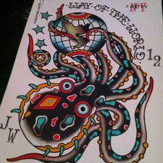 octopus tattoo flash world globe jeremy whitley