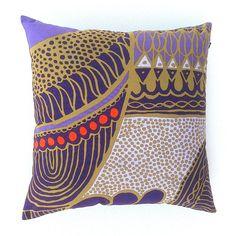 Purple Geometric Cushion Cover. Shades of Purple and Mustard