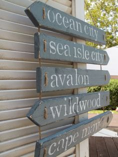 Distressed Beach Signs by handmadebyjennylou on Etsy, $45.00