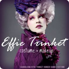 Effie Trinket, the delightfully oblivious escort for District 12 competitors Katniss Everdeen and Peeta Mellark in The Hunger Games, is a fabulous costume for girls interested in something outrageous yet fashionable. Now that The Hunger Games has. Halloween Costumes For Teens, Halloween Cosplay, Girl Costumes, Dyi Costume, Costume Makeup, Costume Ideas, Hunger Games Costume, Hunger Games Party, Holloween Party Ideas