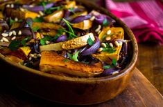 Roasted butternut squash and red onions recipe