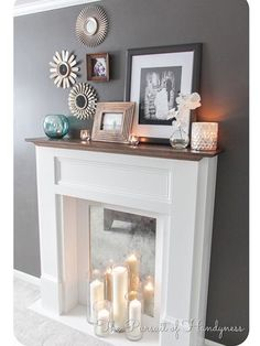 Faux Fireplace Mantle Diy/cover up the existing fireplace hole with a mirror and put candles in front of it Home Living Room, Living Room Decor, Apartment Living, Urban Apartment, Living Room Ideas Without Fireplace, Living Spaces, Faux Mantle, Diy Home, Home Decor