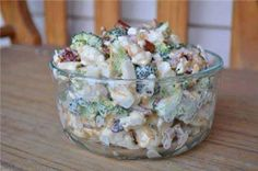 Fourth of July-Food Idea-Amish Broccoli Salad-1 head broccoli(chopped),1 head cauliflower(chopped),1 cup mayonnaise,1 cup sour cream,1/2 cup sugar,1/2 teaspoon salt,1/2 pound bacon(fried and crumbled),1 cup shredded Cheddar cheese. Mix together and Serve