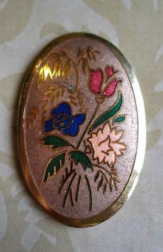 Vintage oval cloisonne enamel flower brooch peach red blue green gold tone (5233)