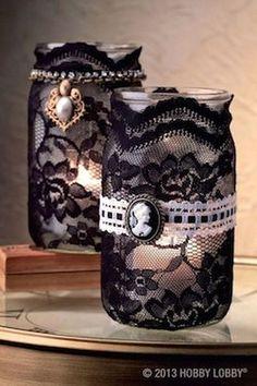 Lace Mason Jar Candle Holders.