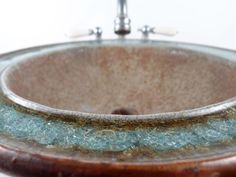 Ceramic sink with fused glass custom-made by KerryBrooksPottery