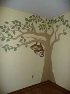If we have a boy we are thinking Monkey Jungle theme. This would be cute to do on a wall