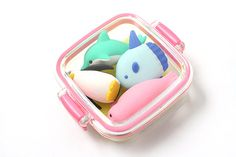 Iwako Box Set - Dolphin & Whale Friends Novelty Eraser - Small Pink Box - Assorted 4 Piece Set