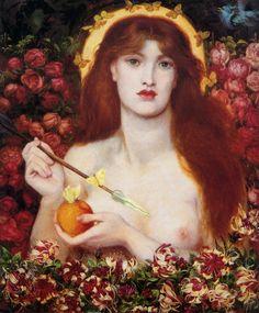 VENUS VERTICORDIA (la que transforma los corazones) de Dante Gabriel ROSSETTI (1868). Pertenece a la hermandad de los prerrafaelitas. Es un óleo sobre lienzo en el que rosas y mariposas rodean a la diosa, representada desnuda y con una abundante cabellera rojiza, que sostiene en sus manos la manzana dorada, otorgada por Paris como trofeo a la más bella, y la flecha del amor.