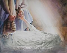 Jesus giving life back to Jarius's daughter. He Is Lord, Jesus Is Lord, Jesus Christ, Christian Paintings, Christian Art, Now Faith Is, Faith In God, Best Friends Cartoon, Jesus Loves Us
