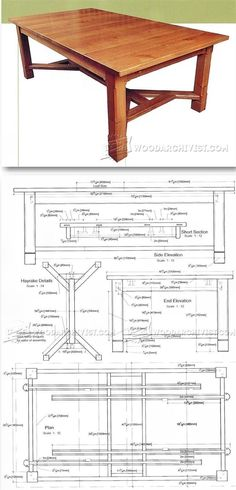 Arts and Crafts Dining Table Plans - Furniture Plans and Projects   http://WoodArchivist.com