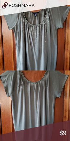 f75f89f5590 Flowey taupe rhinestone top Elena Solano flowey taupe top w rhinestone  front embellished