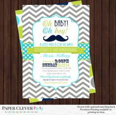 Mustache Baby Shower Invitations -- Oh Boy Aqua Blue Lime Green and Gray Chevron Little Man Party -- Personalized Digital File or Printed