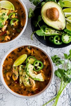 This chicken avocado cilantro lime soup is the perfect cold weather fix. It's packed full of vegetables, spices, rotisserie chicken and topped with creamy Hass avocado. It's ready in just 35 minutes so it's the perfect weeknight comfort meal.