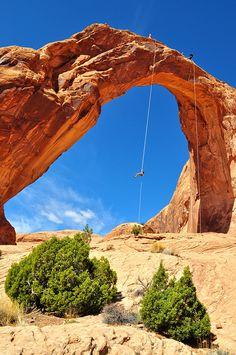 Rapelling Corona Arch in Moab, Utah