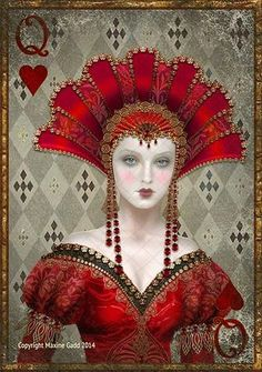 Limited Edition Prints Maxine Gadd is a published artist Queen of Hearts Claudia Tremblay, Playing Cards Art, Atc Cards, Red Queen, Fairy Art, Queen Of Hearts, Art Design, Alice In Wonderland, Wonderland Party