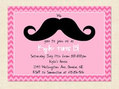 Teen Girl Invitation Birthday Mustache Pink Moustache Printable via Etsy
