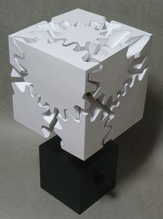 Cube gears engineered out of paper.