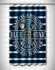 Blue Star Sailing Shower Curtain