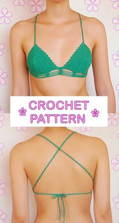 Halter bikini top with thin straps and by AkariCrochetPatterns